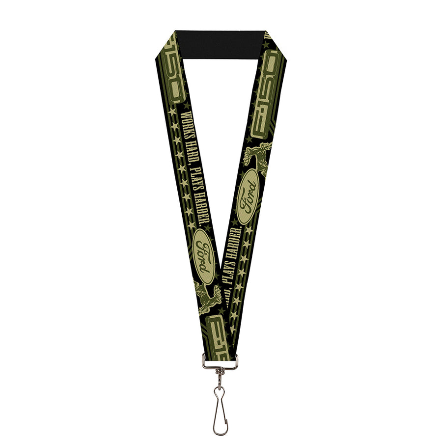 "Lanyard - 1.0"" - FORD F-150 WORKS HARD, PLAYS HARDER Stars Black Tan Olive"