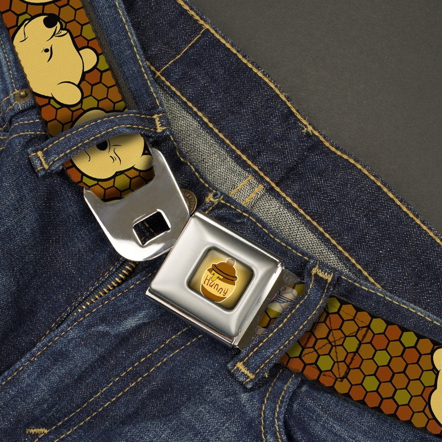 HUNNY Pot Full Color Black Browns Seatbelt Belt - Winnie the Pooh Expressions/Honeycomb Black/Browns Webbing