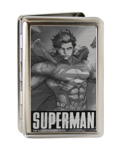 Business Card Holder - LARGE - New 52 SUPERMAN Annual Hovering Cover Pose Brushed Silver