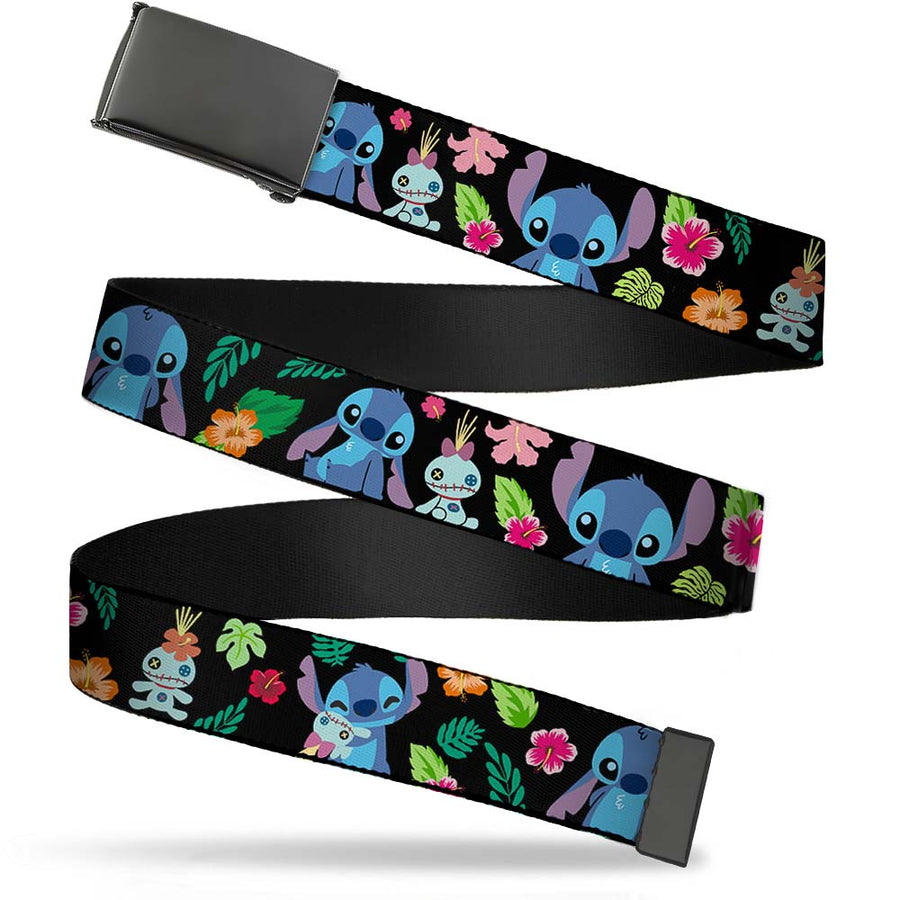 Black Buckle Web Belt - Stitch & Scrump Poses/Tropical Flora2 Webbing