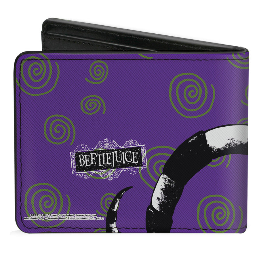 Bi-Fold Wallet - Beetlejuice Sandworm Swirls + Logo Purple Green Black White