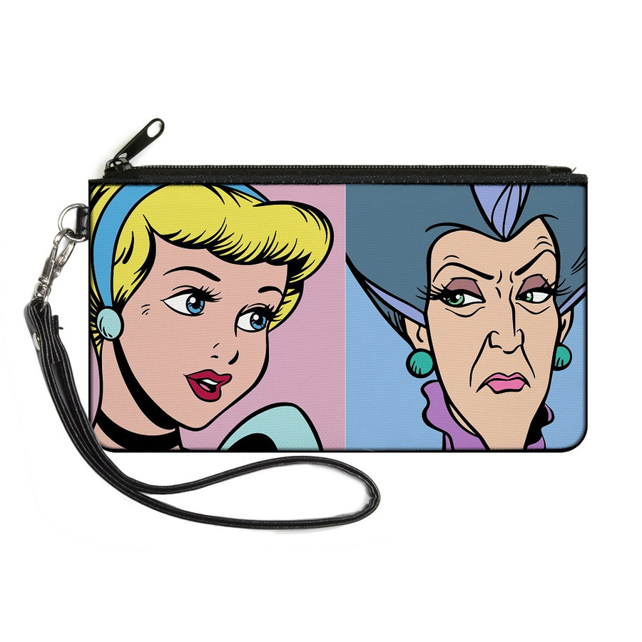 Canvas Zipper Wallet - LARGE - Cinderella and Wicked Step Mother Lady Tremaine Face Blocks