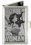 Business Card Holder - SMALL - WONDER WOMAN Pose Stars & Rays Brushed Silver