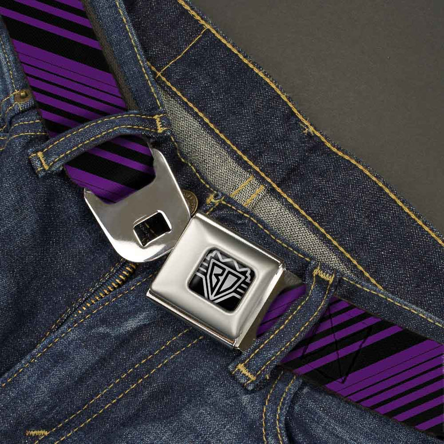 BD Wings Logo CLOSE-UP Full Color Black Silver Seatbelt Belt - Diagonal Stripes Black/Purple Webbing