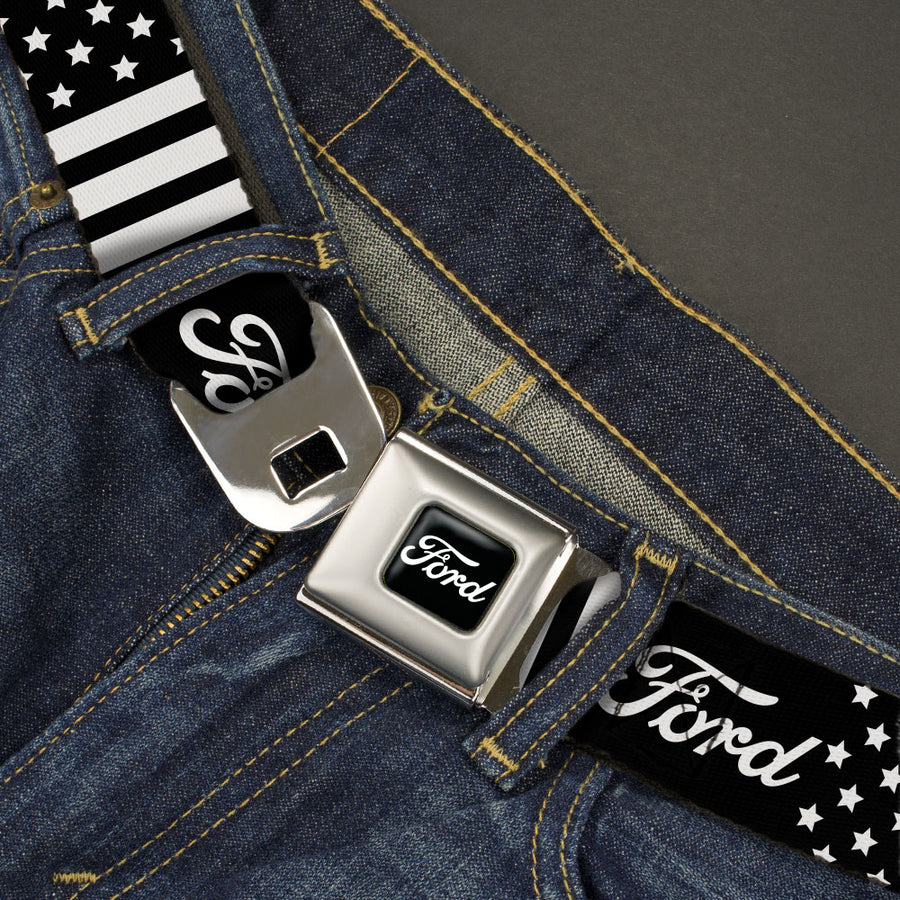 FORD Script Full Color Black/White Seatbelt Belt - FORD Script Americana Stars and Stripes Black/White Webbing