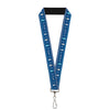 "Lanyard - 1.0"" - Olaf Snowflakes Stitch Blues White"