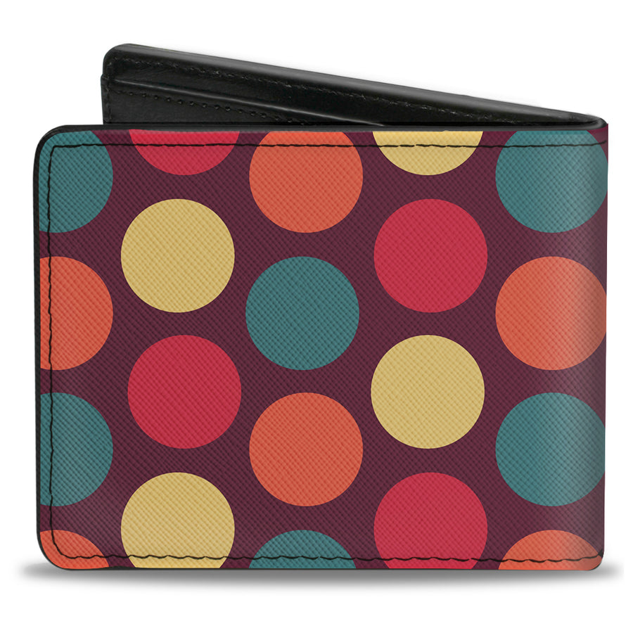 Bi-Fold Wallet - Big Dots Purple Multi Pastel
