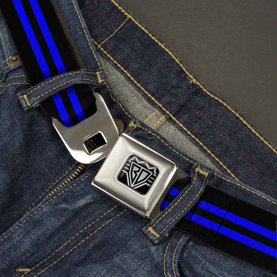 BD Wings Logo CLOSE-UP Full Color Black Silver Seatbelt Belt - Stripe Black/Blue Webbing