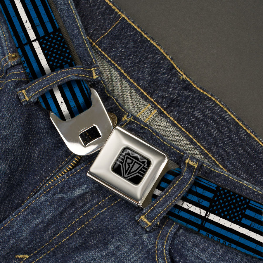 BD Wings Logo CLOSE-UP Black/Silver Seatbelt Belt - Thin White Line Flag Weathered Black/Blue/White Webbing