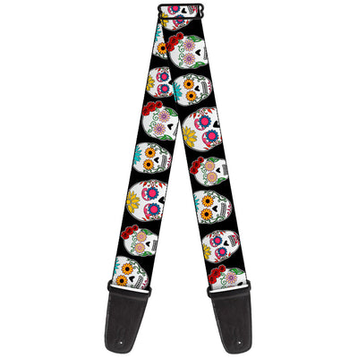 Guitar Strap - Staggered Sugar Skulls CLOSE-UP Black Multi Color