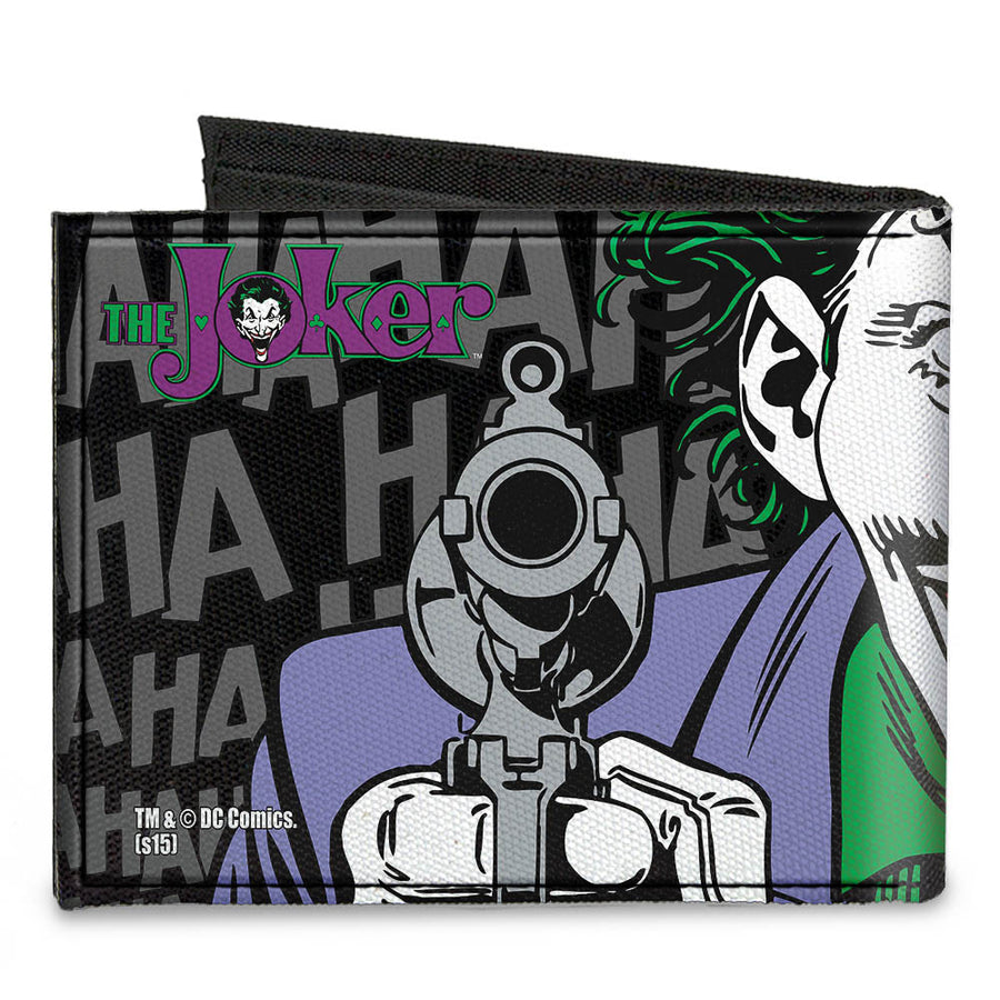 Canvas Bi-Fold Wallet - The JOKER HAHAHAHA CLOSE-UP Pose Black Gray