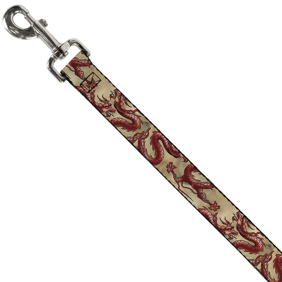 Dog Leash - Dragons Tan