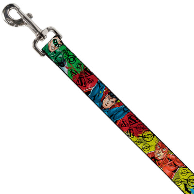 Dog Leash - Justice League New 52 4-Superhero Poses/Scattered Logos Multi Color/Black