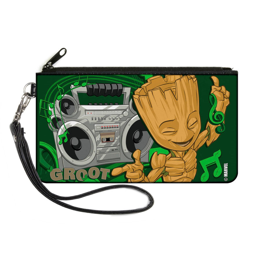 GUARDIANS OF THE GALAXY - EVERGREEN Canvas Zipper Wallet - SMALL - GROOT Boombox Groove Greens Gray Browns
