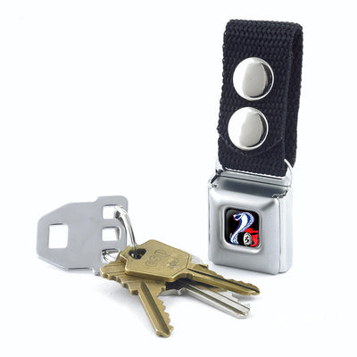 Keychain - Flaming Cobra Jet Logo Full Color Black Red White Blue