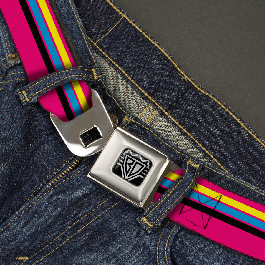 BD Wings Logo CLOSE-UP Full Color Black Silver Seatbelt Belt - Racing Stripes Pink/Yellow/Blue/Black Webbing