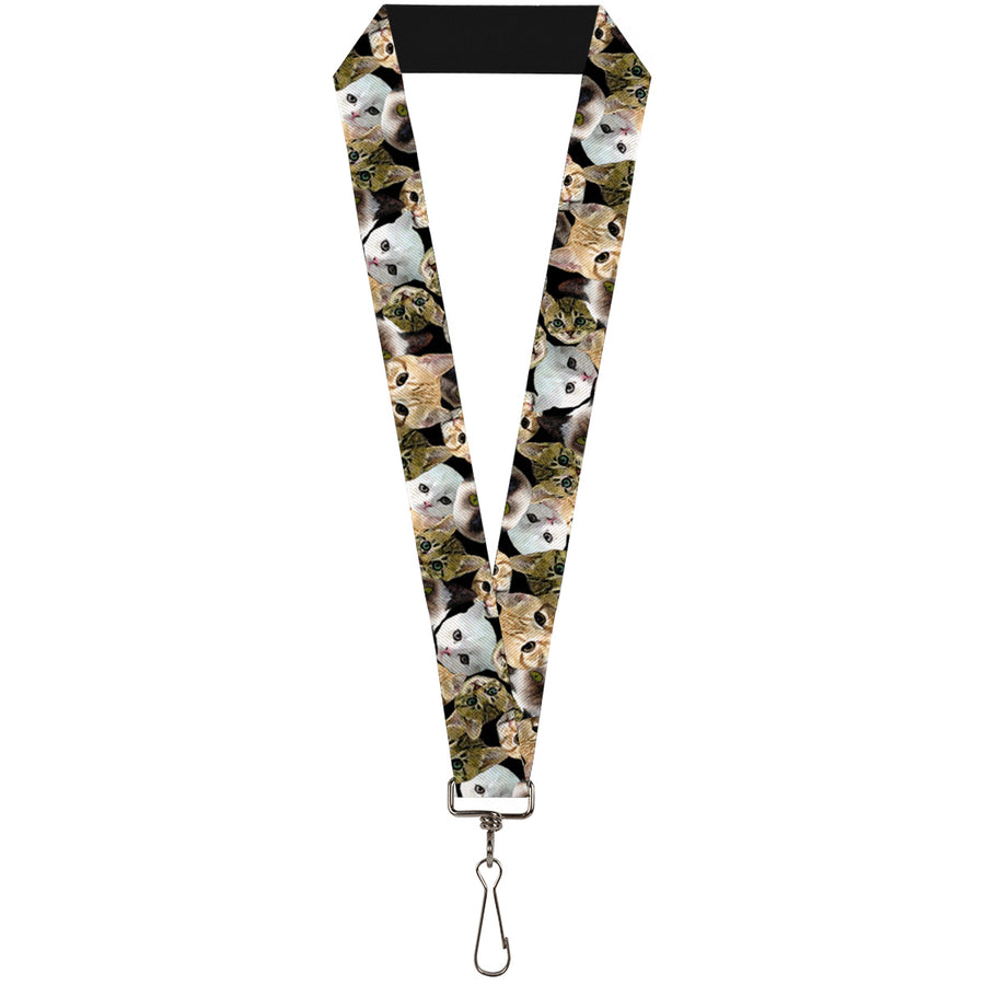 "Lanyard - 1.0"" - Kitten Faces Scattered Black"