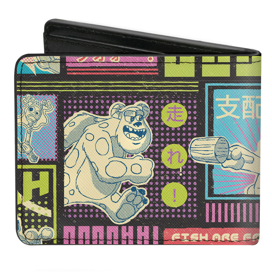 Bi-Fold Wallet - Pixar Movie Mashup Character Scene Blocks Black Multi Color