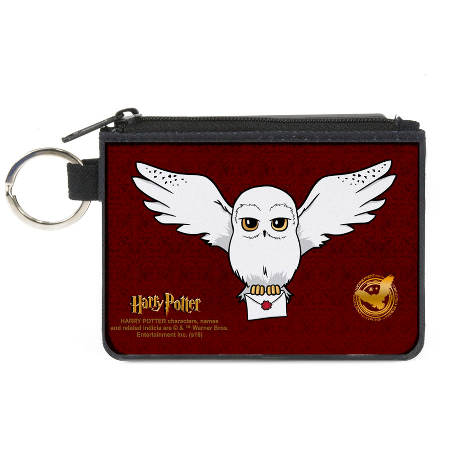Canvas Zipper Wallet - MINI X-SMALL - HARRY POTTER Hedwig Delivery Pose DRCMC Icon Burgundy Reds Golds