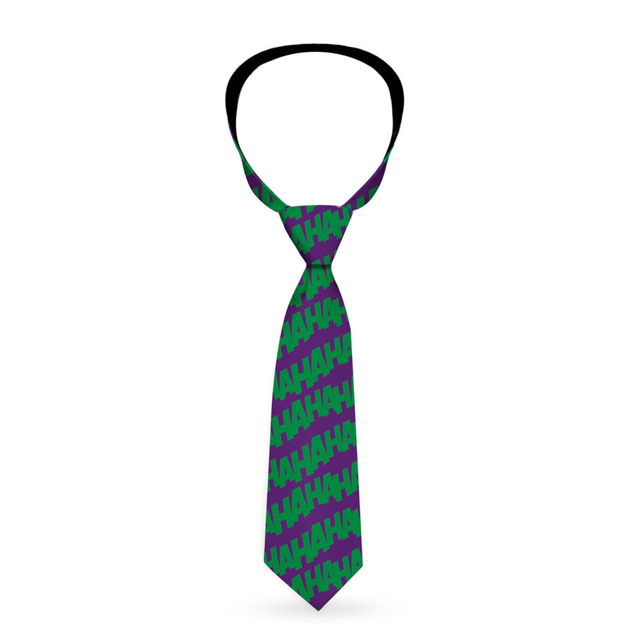 Necktie Standard - Joker HAHAHA Repeat Purple Green