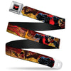 Nightwing Logo Full Color Black Red Seatbelt Belt - NIGHTWING Poses/Bats Welcome to Gotham Comic Book Cover Webbing