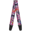 Guitar Strap - Cheshire Cat Visions WE'RE ALL MAD HERE Pinks White