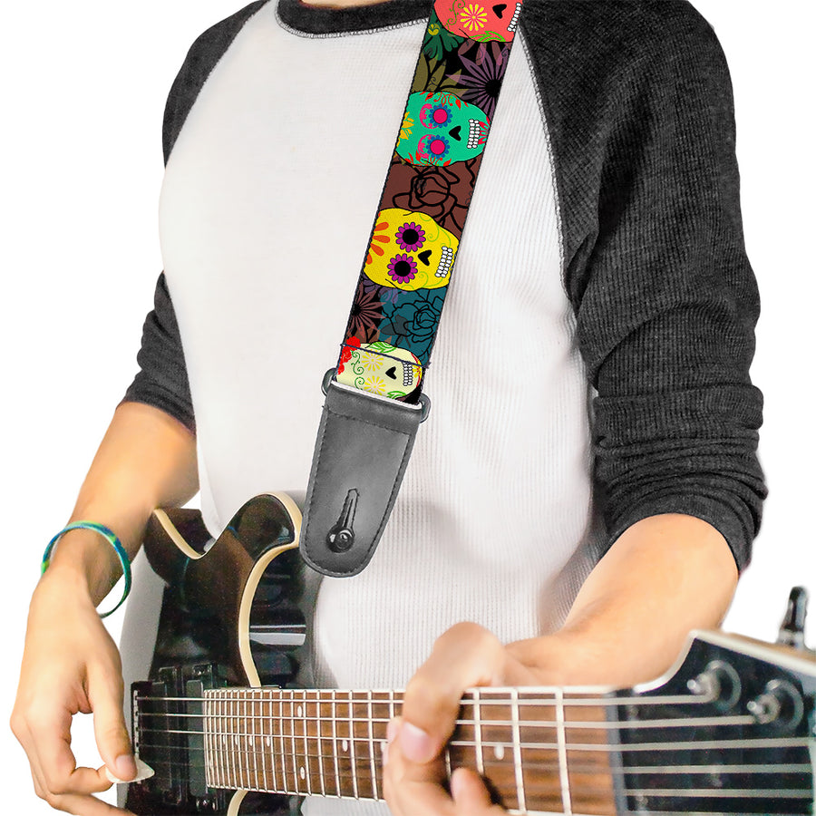 Guitar Strap - Painted Sugar Skulls & Flowers Collage