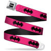 Batman Black Silver Seatbelt Belt - Bat Signal-3 Fuchsia/Black/Fuchsia Webbing