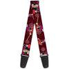 Guitar Strap - Captain Hook Poses Nautical Elements Burgundy