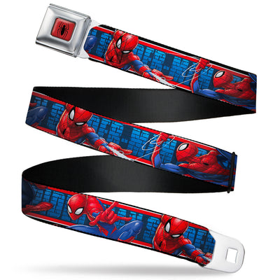 2016 SPIDER-MAN Spider Logo5 Full Color Red Black Seatbelt Belt - SPIDER-MAN 3-Action Poses/Bricks/Stripe Blues/Red/White Webbing