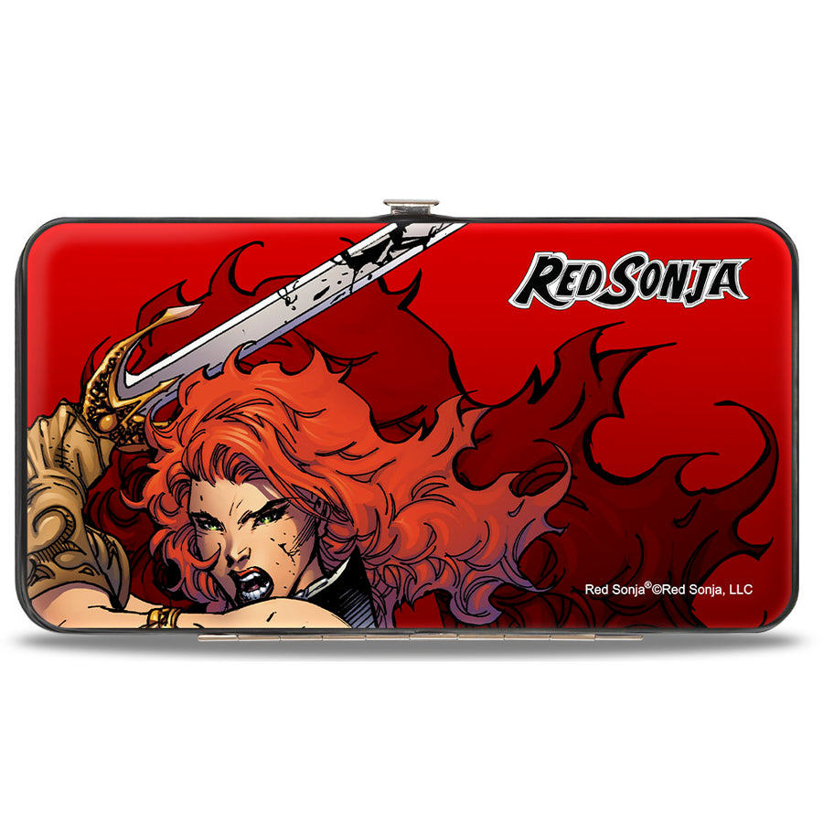 Hinged Wallet - RED SONJA Face Action Pose CLOSE-UP3 Reds
