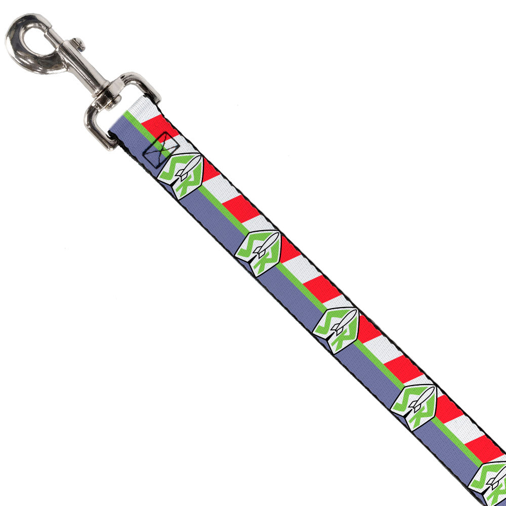 Dog Leash - Toy Story Buzz Lightyear Space Ranger Logo/Striping  Red/White/Green/Purple