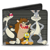 Bi-Fold Wallet - Looney Tunes 6-Character Group Lineup Gray Black