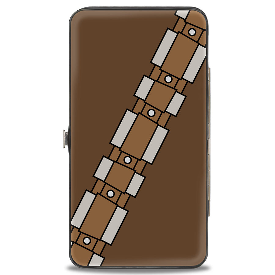 Hinged Wallet - Star Wars Chewbacca Mono Line Face + Bandolier Strap Brown Black Grays