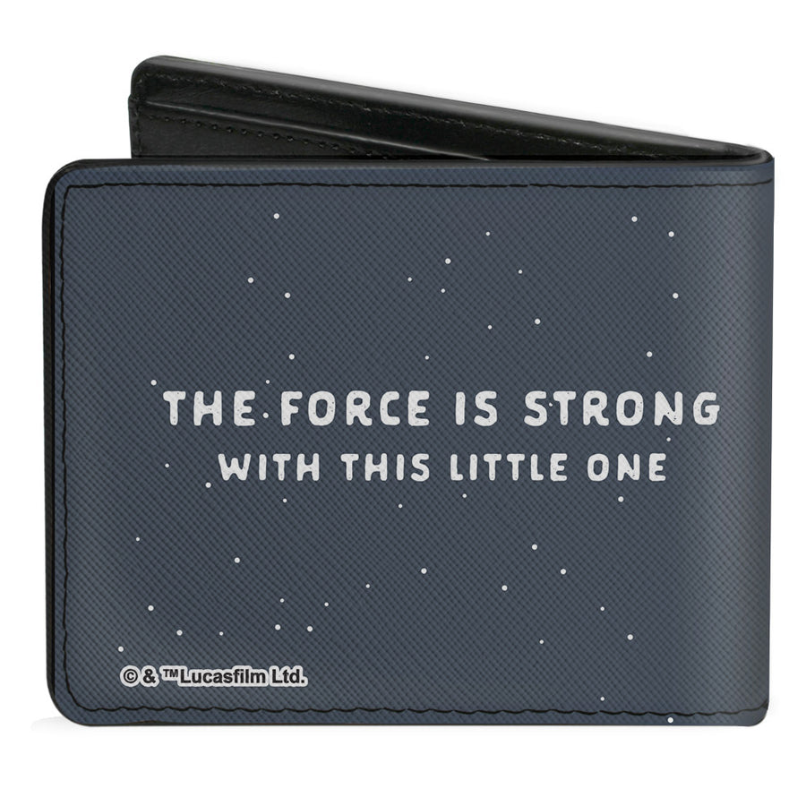 Bi-Fold Wallet - Star Wars THE CHILD Stylized Pose THE FORCE IS STRONG WITH THIS LITTLE ONE Gray White