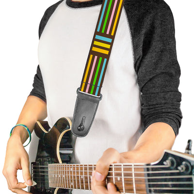 Guitar Strap - Stripe Blocks Brown Multi Pastel
