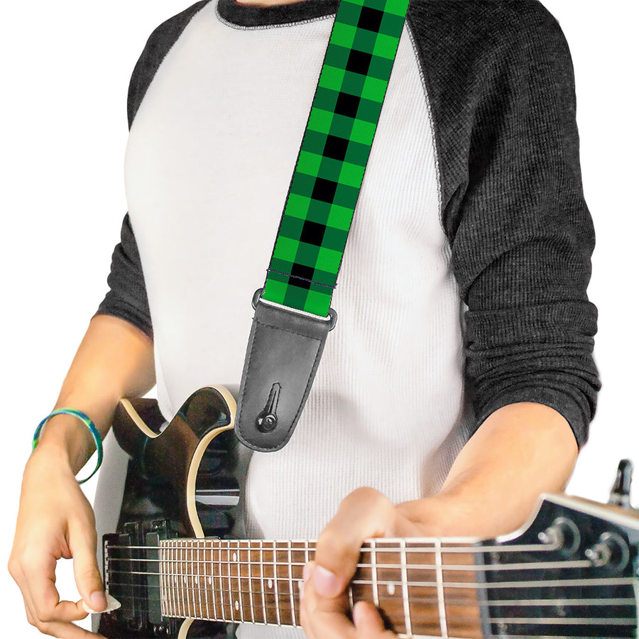 Guitar Strap - Buffalo Plaid Black Neon Green