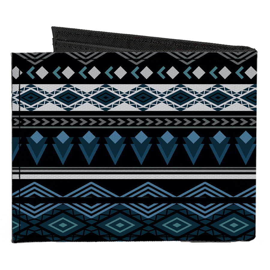 Canvas Bi-Fold Wallet - Aztec8 Blues White Gray