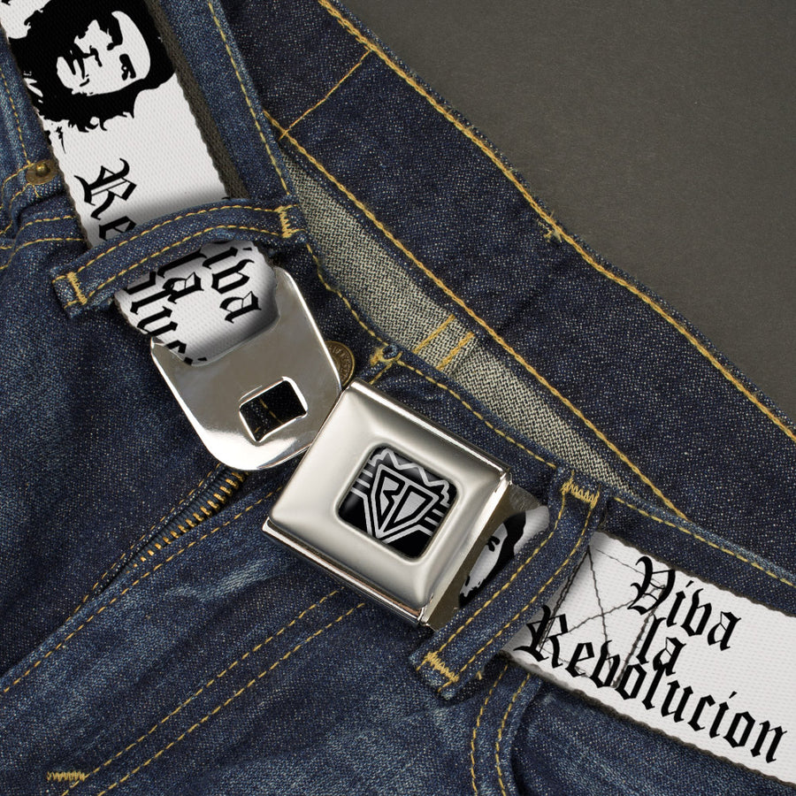 BD Wings Logo CLOSE-UP Full Color Black Silver Seatbelt Belt - VIVA LA REVOLUCION Che White/Black Webbing