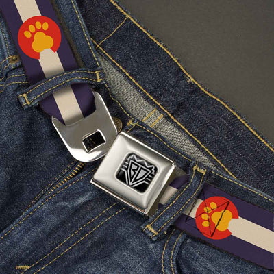 BD Wings Logo CLOSE-UP Full Color Black Silver Seatbelt Belt - Colorado Flag/Paw Print Webbing