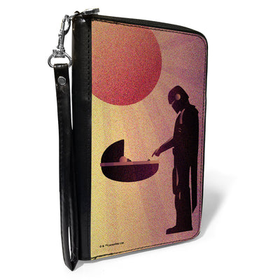 Women's PU Zip Around Wallet Rectangle - Star Wars The Child and The Mandalorian Touching Fingers Sun Rays