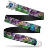 Monsters University Logo Full Color Blue White Seatbelt Belt - Monsters University Character Lineup Gray Webbing