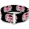 Cinch Waist Belt - Super Shield Hibiscus Design Black Pink