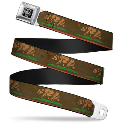 BD Wings Logo CLOSE-UP Full Color Black Silver Seatbelt Belt - California Flag Weathered Browns Webbing