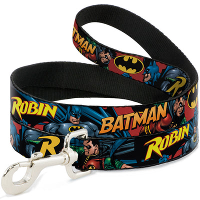 Dog Leash - Batman & Robin in Action w/Text Burgundy