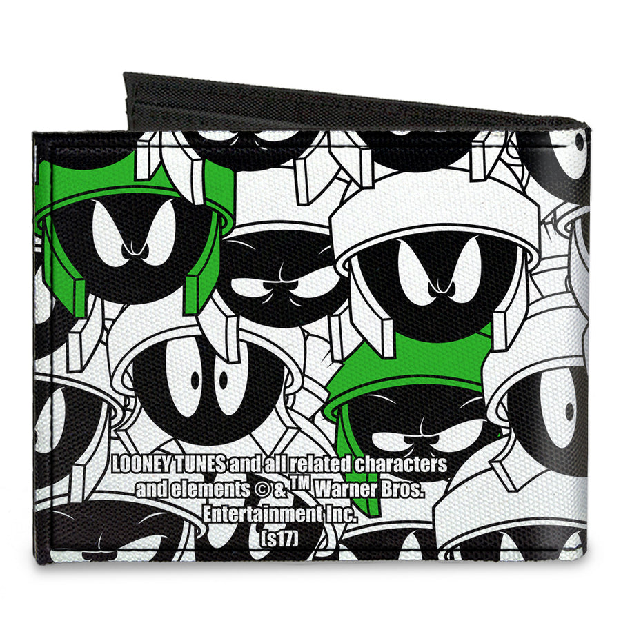 Canvas Bi-Fold Wallet - Marvin the Martian Expressions Stacked White Black Green Yellows