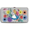 Hinged Wallet - Alice Pose Cheshire Cat Face Flowers of Wonderland + Flower Trio Gray Multi Color