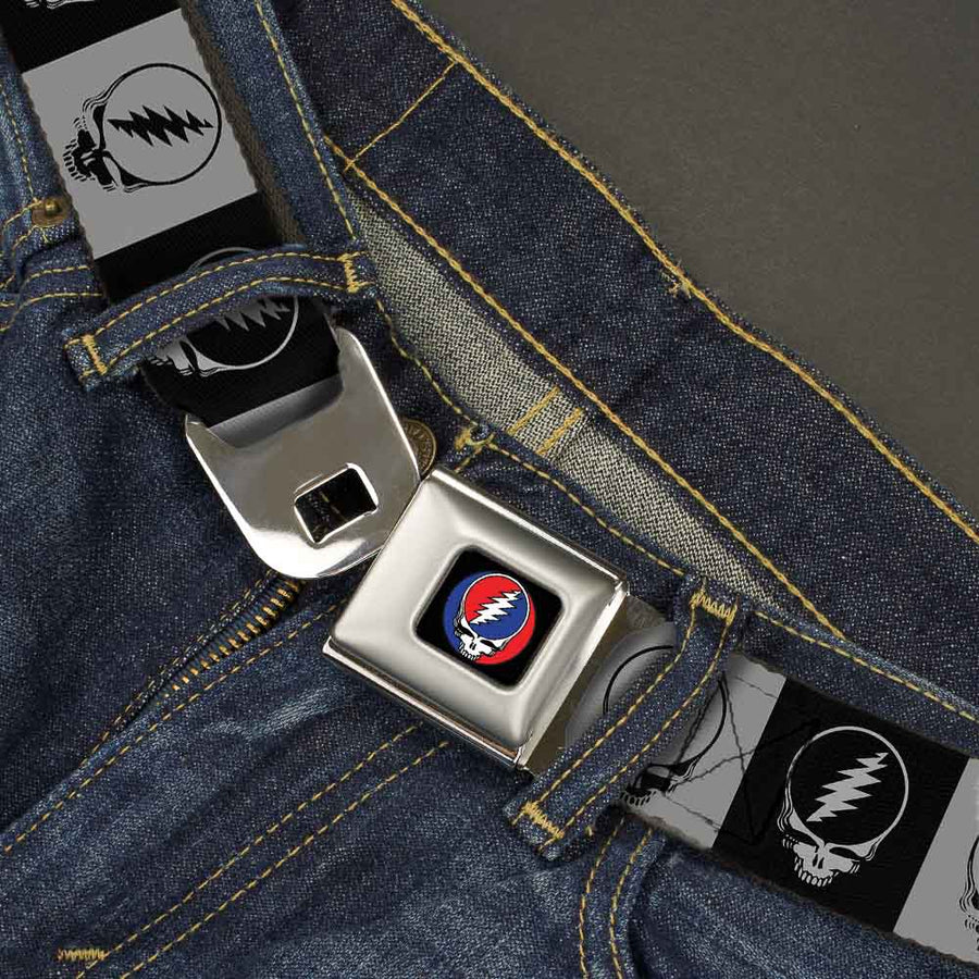 Steal Your Face Seatbelt Belt - Steal Your Face Blocks Black/White-Gray/Black Webbing