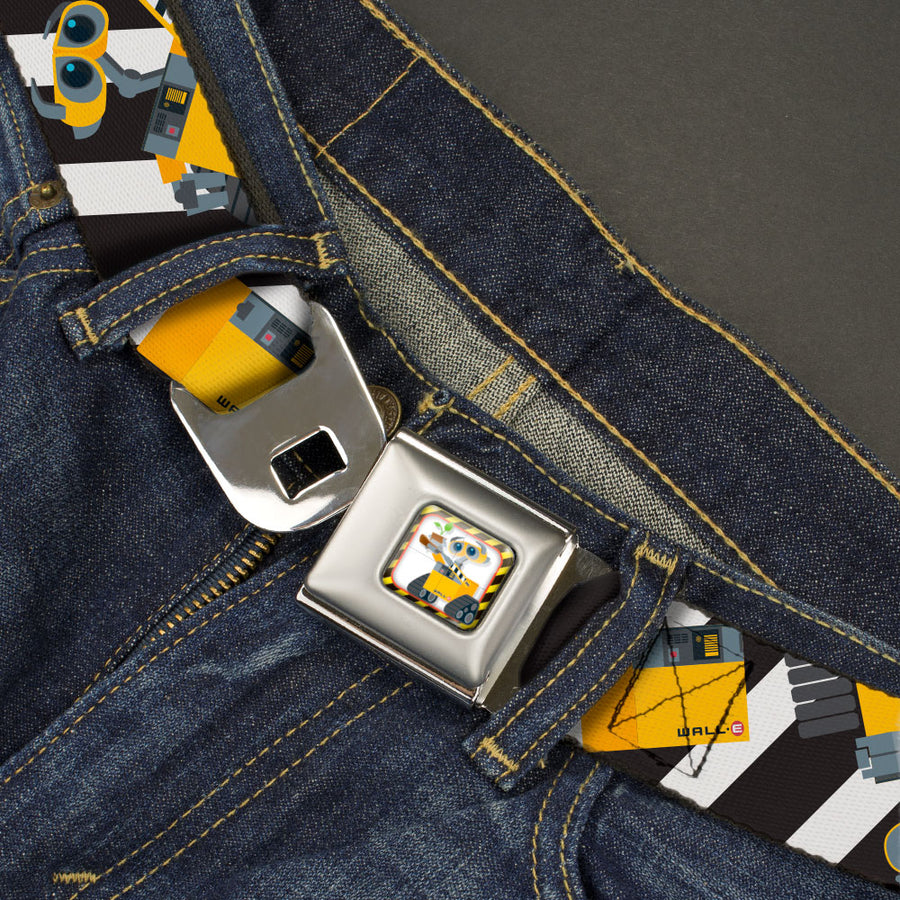 Wall-E Plant Pose Full Color Black/Yellow/White Seatbelt Belt - Wall-E Poses/Stripe Black/White Webbing