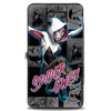 MARVEL UNIVERSE Hinged Wallet - SPIDER-GWEN Jumping Pose Comic Scene Blocks Grays